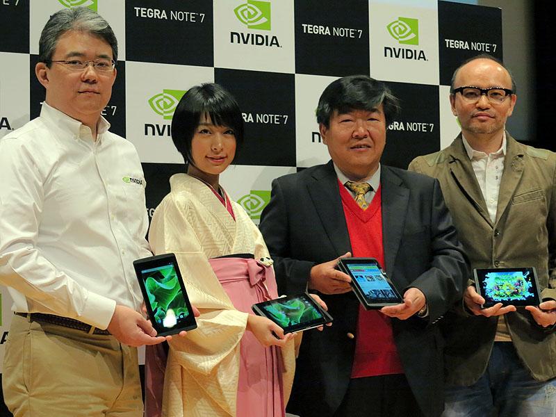 左からエヌビディアの林氏、涼風花氏、ZOTAC社のウォン・シー ハオ・トニーCEO、プリセットゲームを提供するイニスの矢野慶一副社長