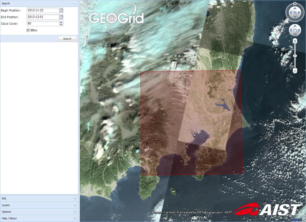 調べたいエリアを指定 (C) GEO Grid/AIST