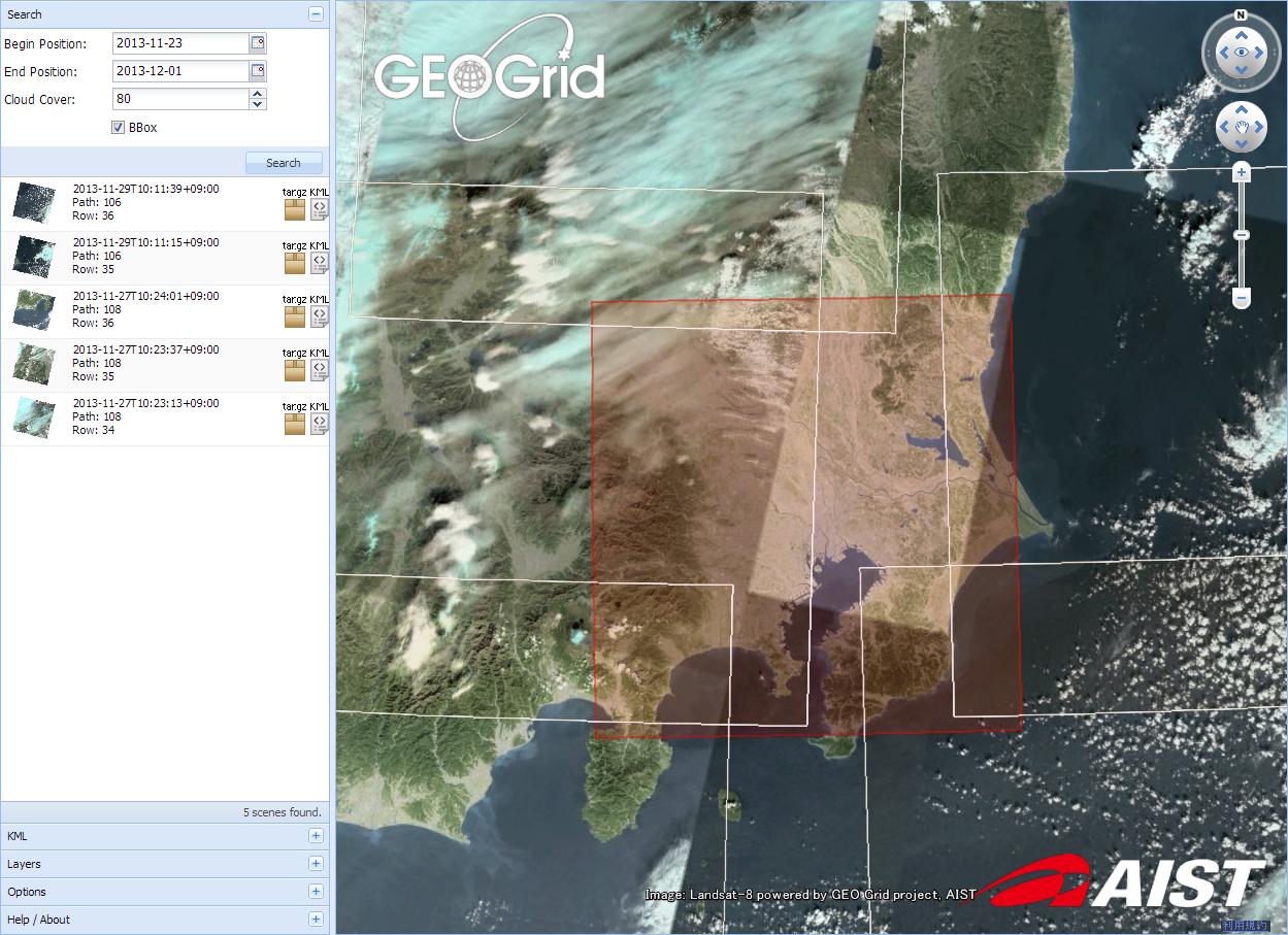 検索結果を表示 (C) GEO Grid/AIST