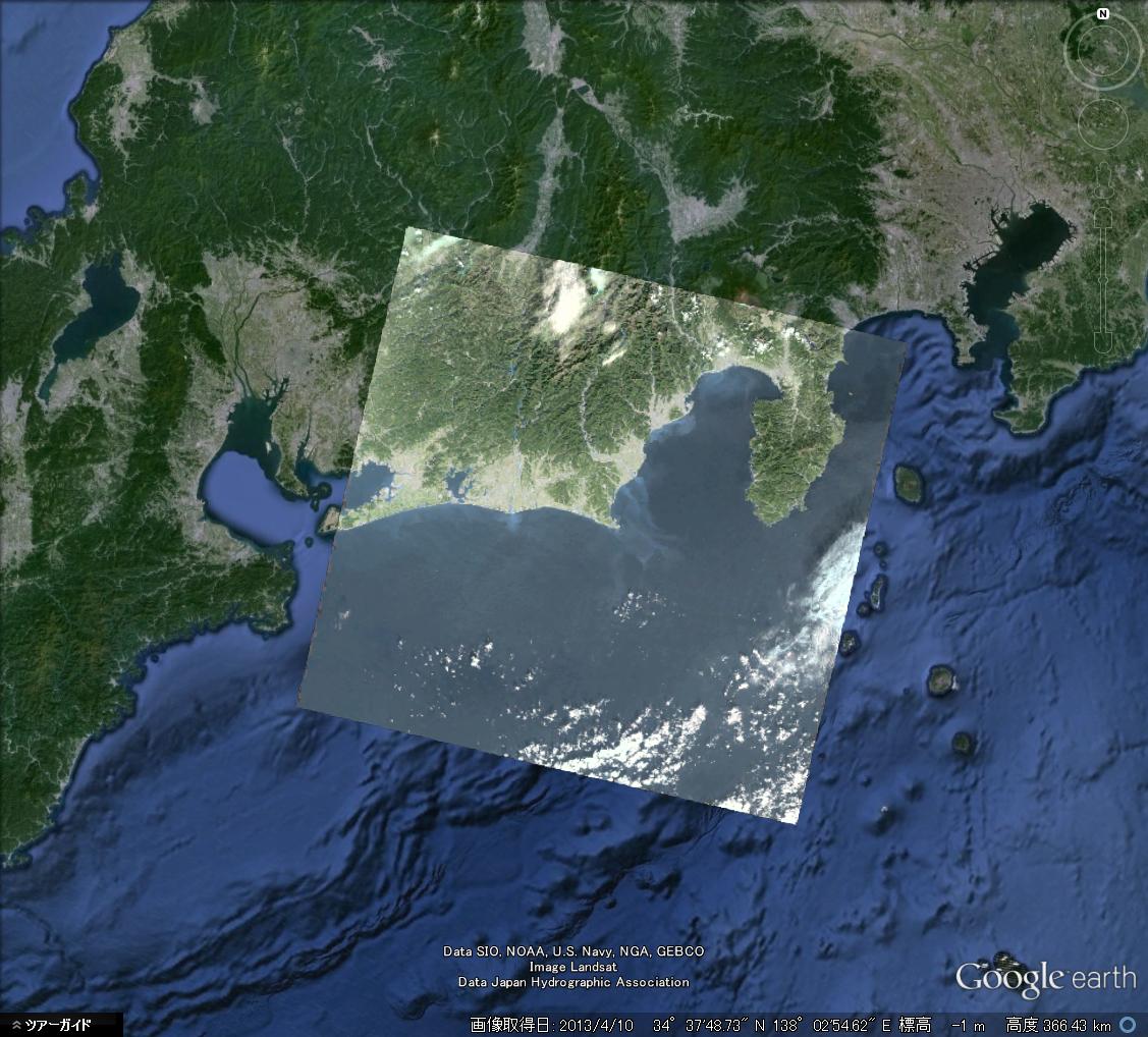 出力した画像データをGoogle Earth上で表示 (C) GEO Grid/AIST