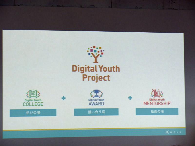 Digital Youth Projectは学びの場「COLLEGE」と競い合う場「AWARD」、指南の場「MENTORSHIP」で構成される
