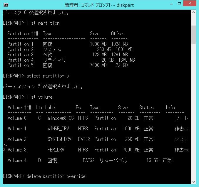 コマンドプロンプト(管理者)からdiskpartを利用して回復パーティションを削除