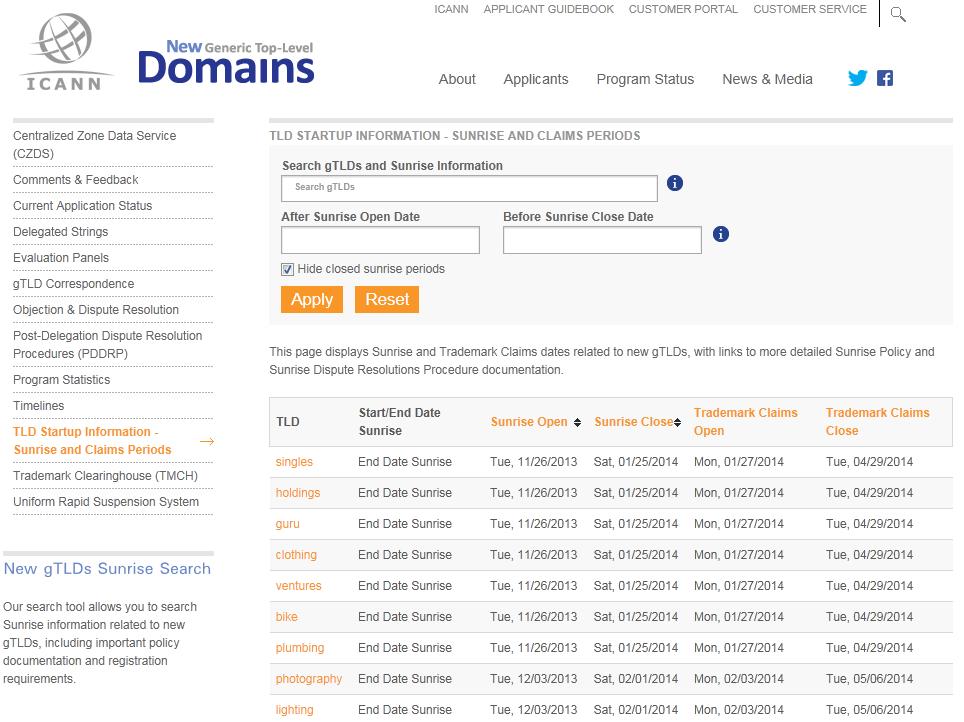 ICANNのウェブサイトで公開している優先登録期間の一覧