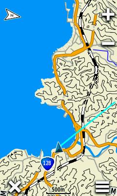 地図画面の右上にある「+」「-」で拡大・縮小を行える