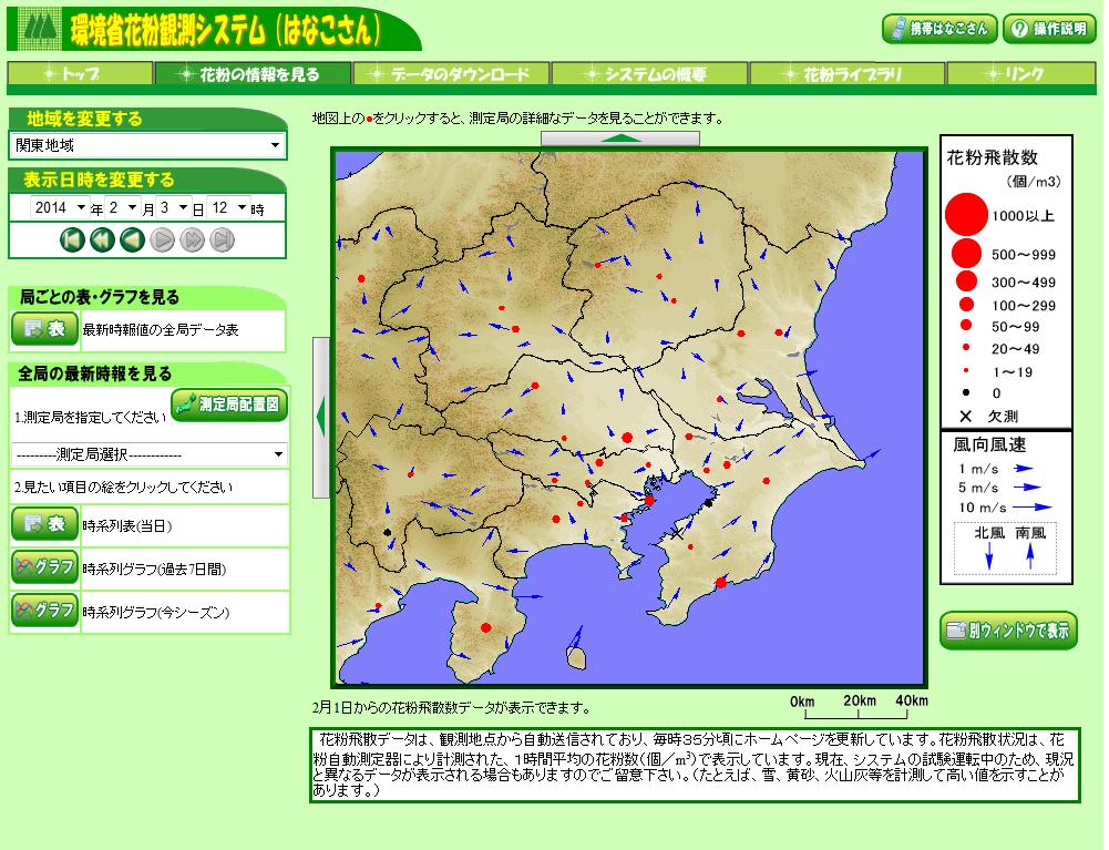 環境省花粉観測システム(愛称:はなこさん)