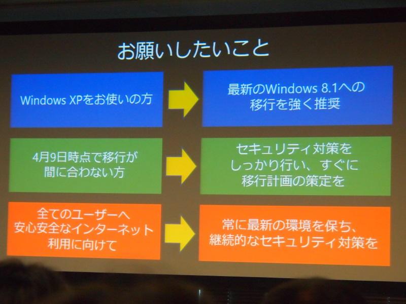 Windows 8.1への移行を強く推奨