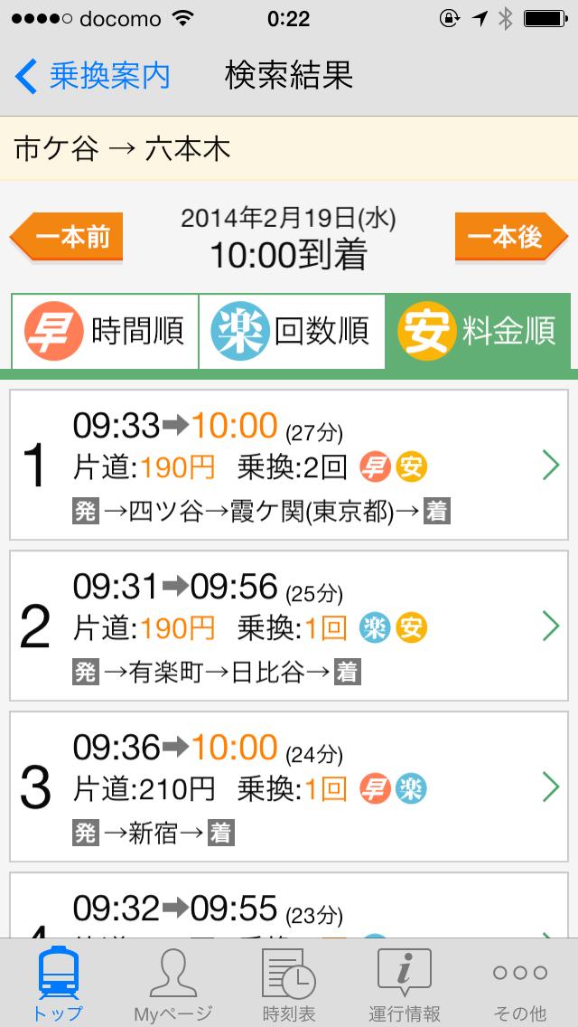 検索結果例。運賃、時間、乗換回数など、ポイントになる部分が色分けされている