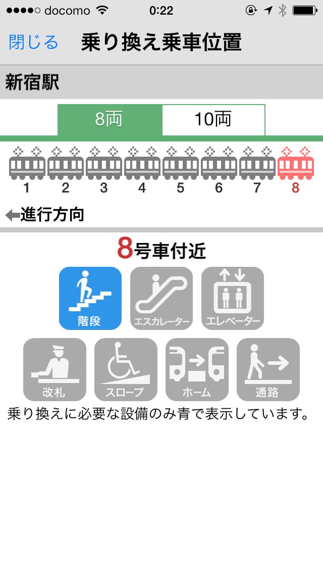 「乗換位置」をタップすると乗換やすい乗車位置がわかる