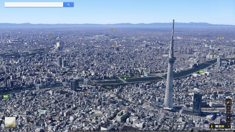 3Dマップ。東京スカイツリーのようなランドマークはもちろん、周囲のビル群まで緻密に描かれている(画像提供:Google)