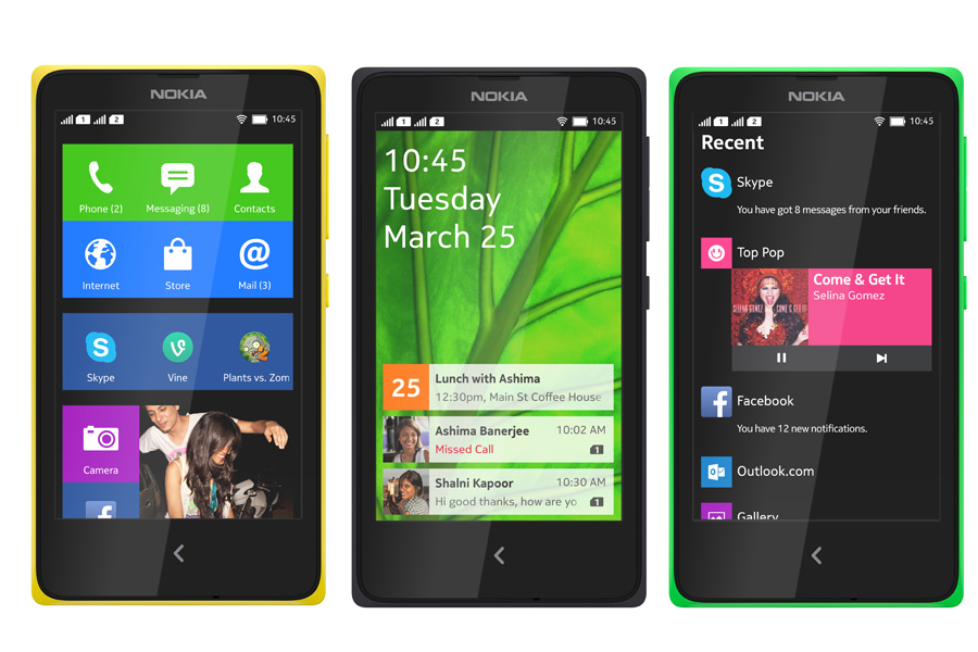 Nokia Xファミリー3機種。タイルデザインのUIを実装しており、ぱっと見はWindows Phoneのようだ