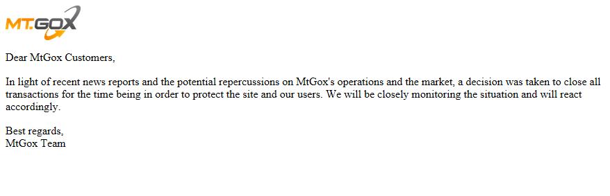 Mt.Goxのサイトに掲載されたメッセージ