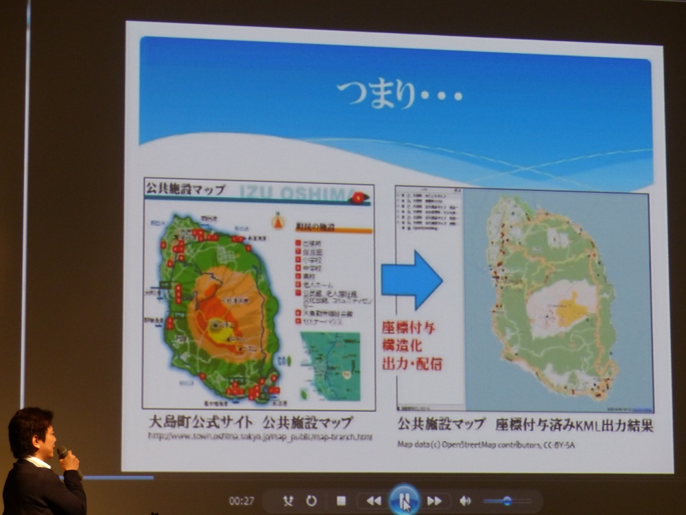 大島町のデータに緯度・経度を付与(「udct+」)