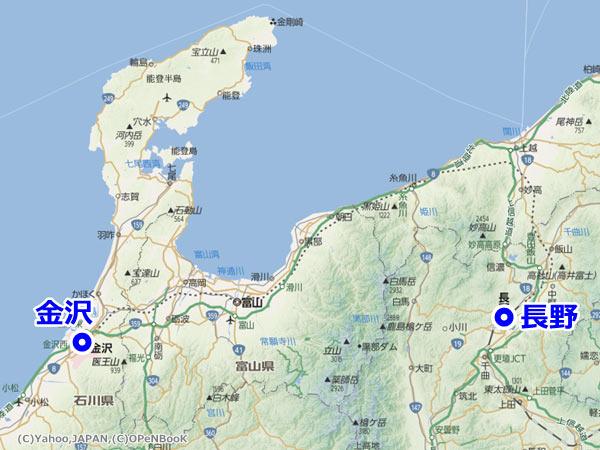 北陸新幹線・長野~金沢間のルート全体図(Yahoo!地図公式ブログより画像転載)
