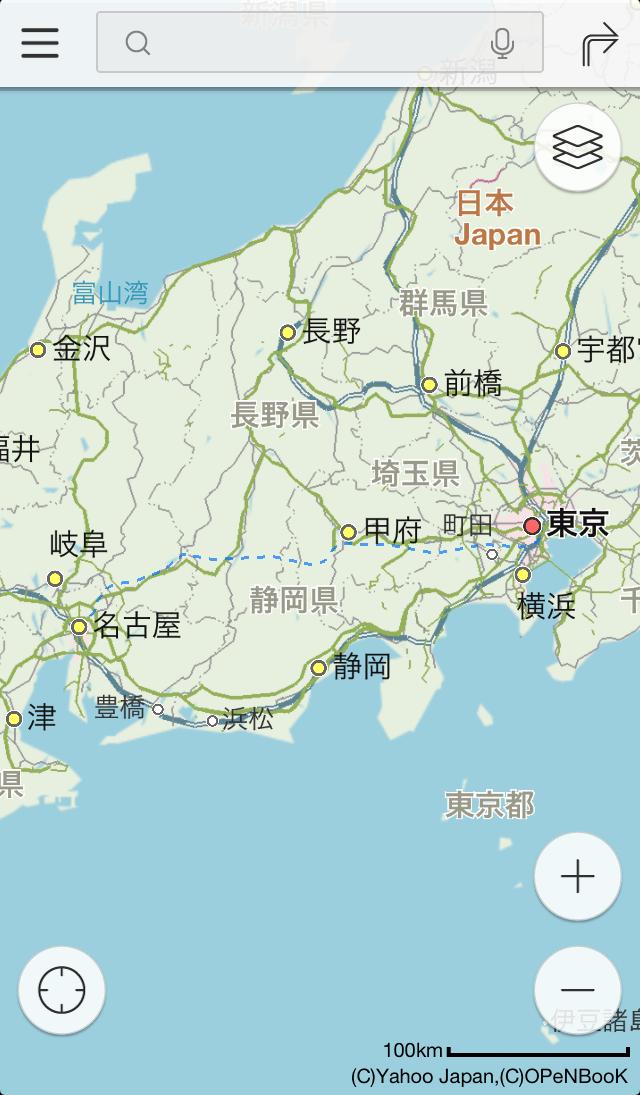 東京・名古屋間に何の説明もなく表示されている点線が、リニア計画線のざっくりとしたルート(iOSアプリ版のYahoo!地図より)