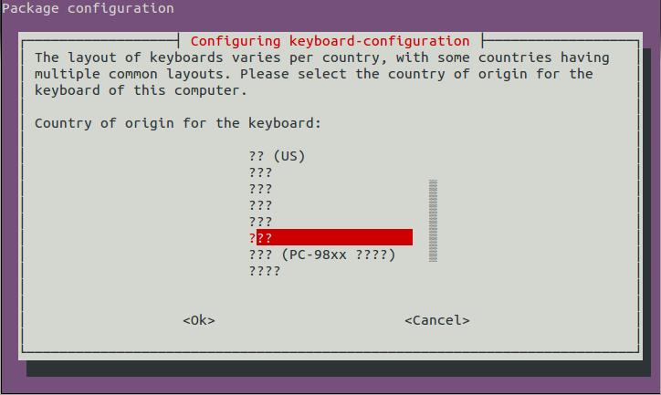 途中でキーボードの配列を尋ねられる。ちゃんと表示できていないが、「PC-98xx」とある上の項目を選んだ