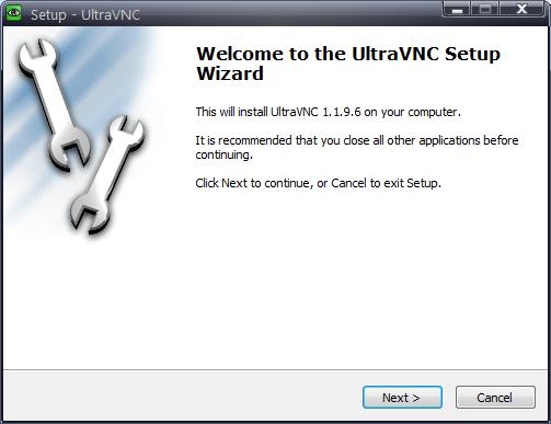 UltraVNCのインストーラを実行する。設定は特に希望がなければすべてデフォルトのままでよいだろう