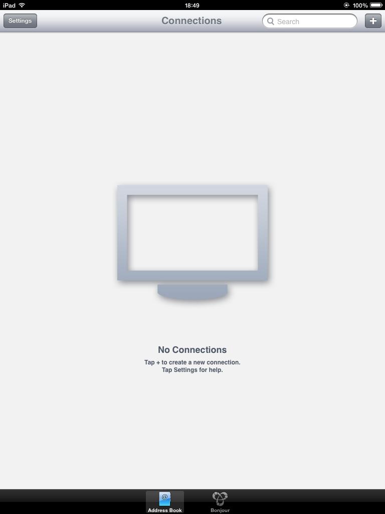 VNC Viewerを起動した。右上の「+」をタップして接続先の指定に進む