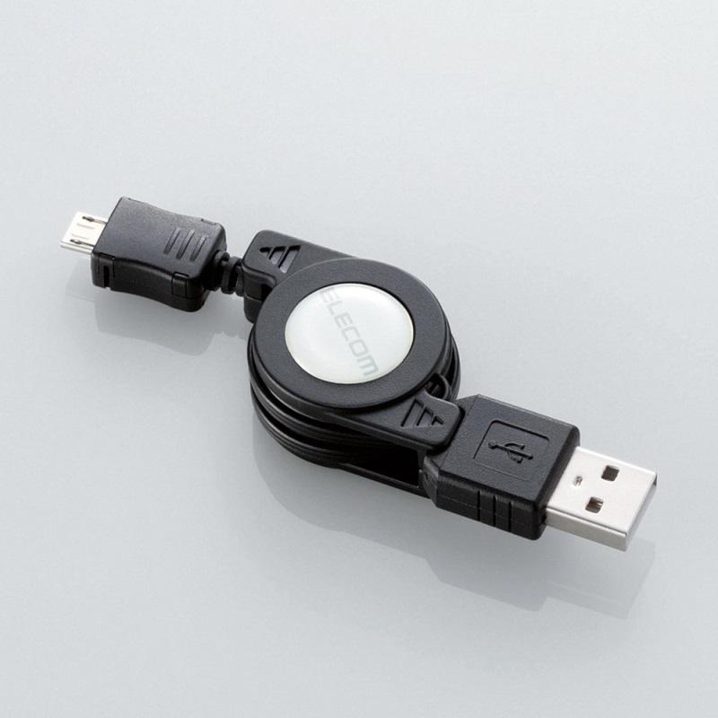 巻き取り式Micro-USBケーブル「GM-U2CAMBIRL7BK」