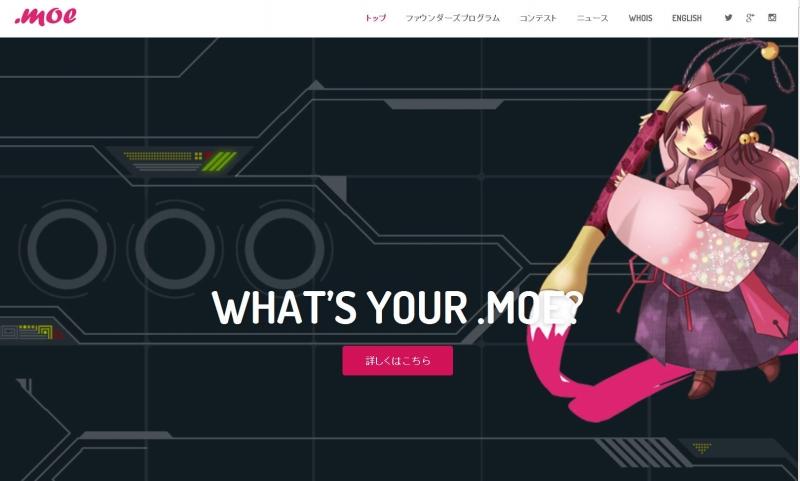 「nic.moe」のウェブサイト。「NICが大好き」というサイトではもちろんなく、.moeのNICということだ