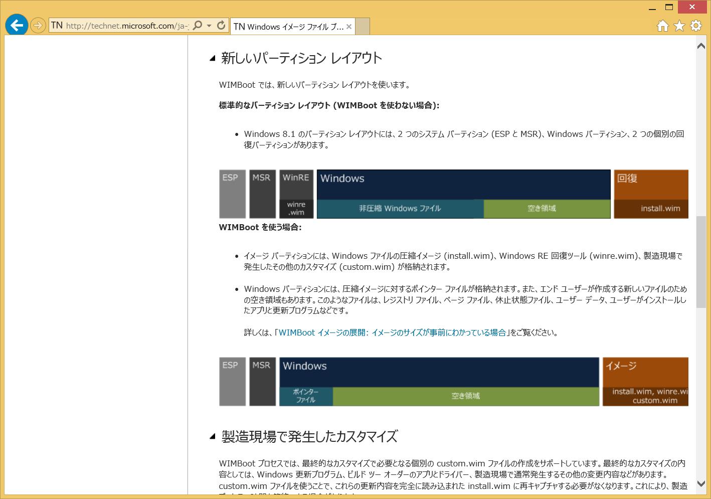 Windows 8.1 Updateの新機能WIMboot。Technetライブラリに詳しい解説が掲載されている