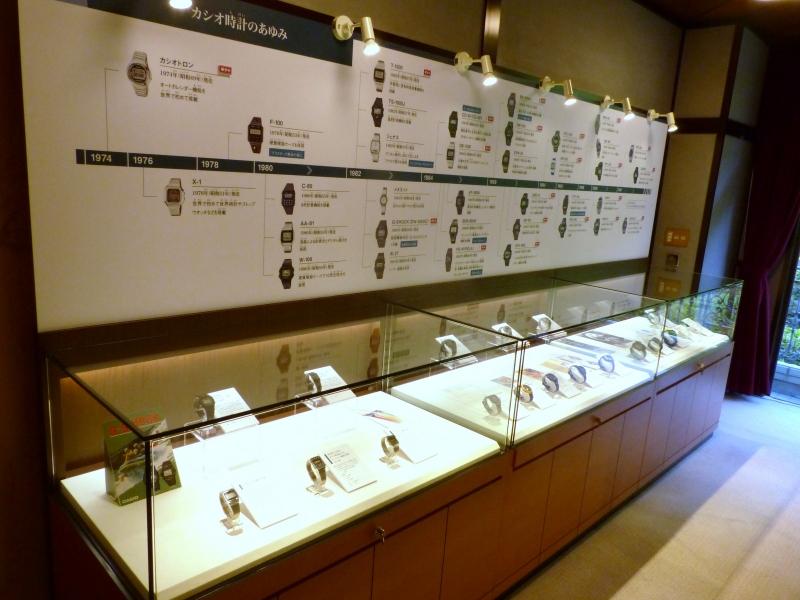歴代のカシオの時計が並ぶ