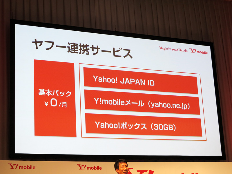ヤフー連携サービス一覧。30GB分のYahoo!ボックス含め無料で利用できる。