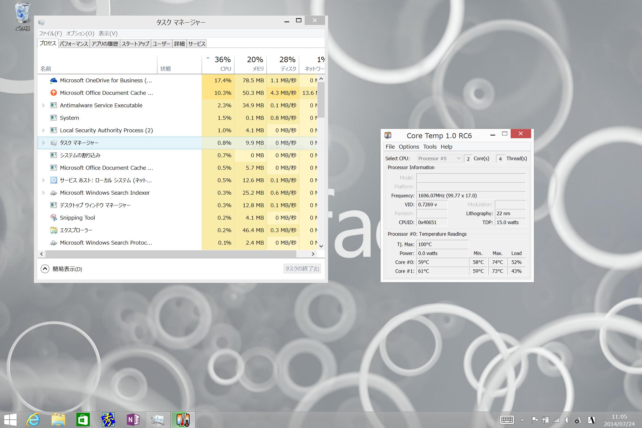 OneDrive for BusinessをインストールしてOffice 365上のOneDriveと同期させたときの様子。この程度の用途でも、結構、負荷が上がり、本体が熱くなってしまう