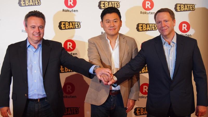 (左から)米SliceのScott Brady CEO、三木谷氏、米EbatesのKevin H. Johnson CEO