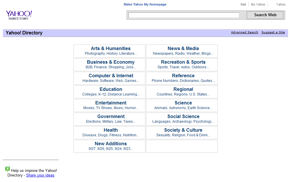 現在の「Yahoo Directory」