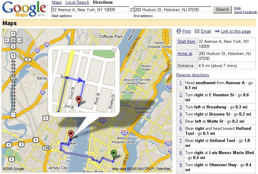 サービス開始当初のGoogle マップ