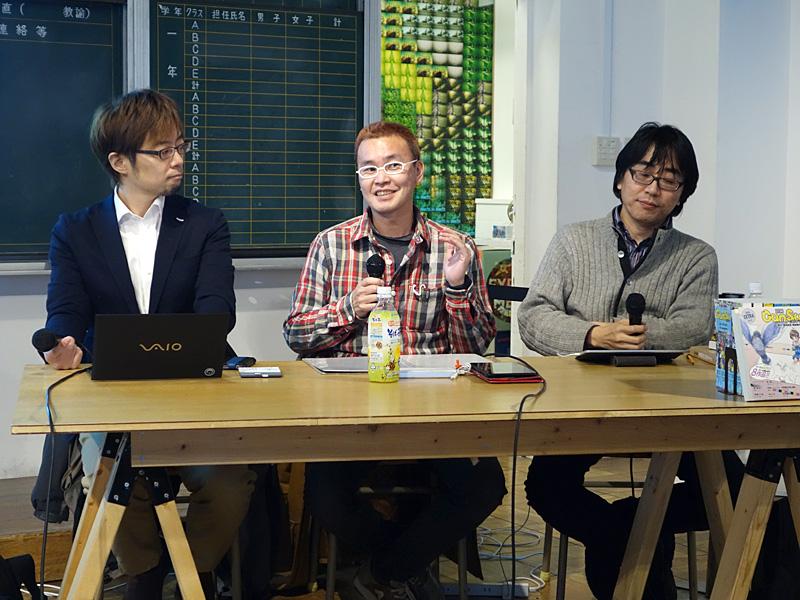 「日本独立作家同盟」説明会のトークセッションに参加した皆さん。左からまつもとあつし氏、鈴木みそ氏、仲俣暁生氏