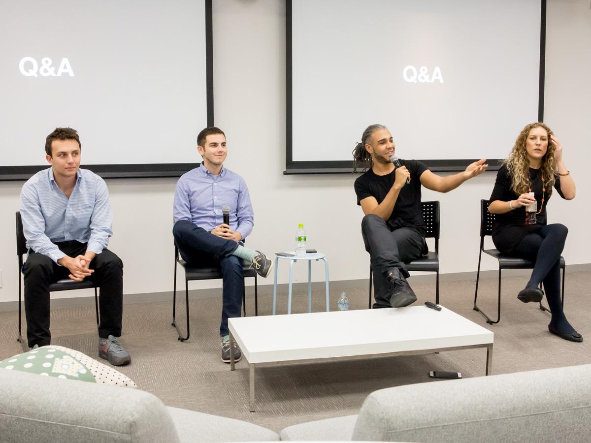 (左から)Adam Feldman氏(Product Manager)、Jason Toff氏(Head of Vine)、Jason Mante氏(Head of Content)、Carolyn Penner氏(Head of Marketing)。Vineを率いるToff氏は28歳の若手だ