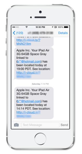 iPadの盗難被害に遭った持ち主のもとに届いたメッセージの例(Symantec公式ブログより画像転載)