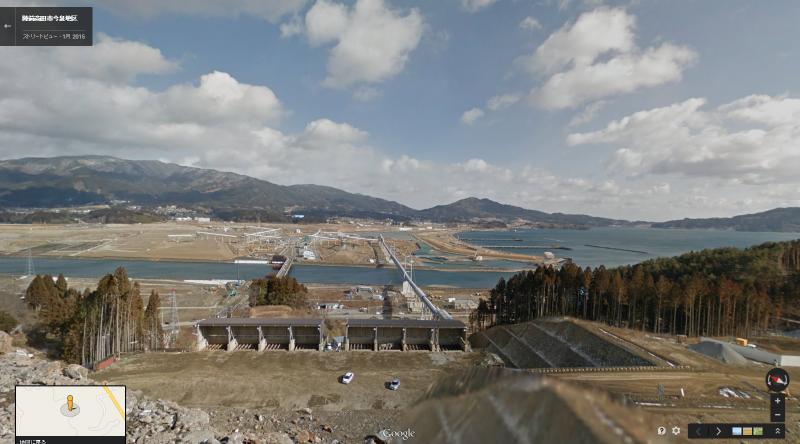 今泉地区から見える陸前高田市街地(提供:Google)