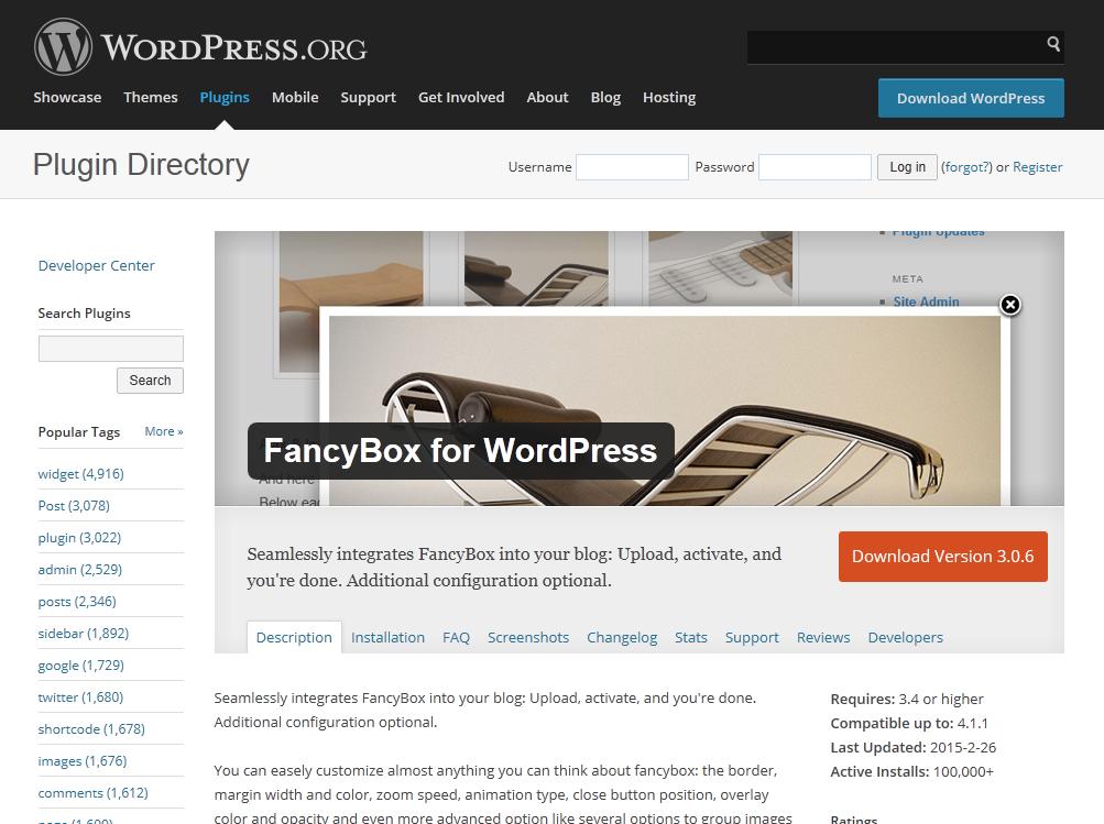 「FancyBox for WordPress」公式ページ(WordPress.orgのプラグインディレクトリ)