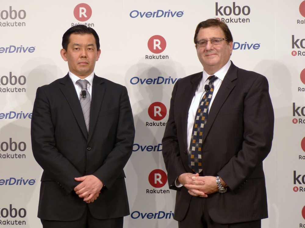 楽天株式会社常務執行役員の相木孝仁氏(左)と米OverDrive社長兼CEOのスティーブ・ポタシュ氏(右)