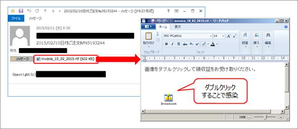 請求書を装ったメールの添付ファイルから感染