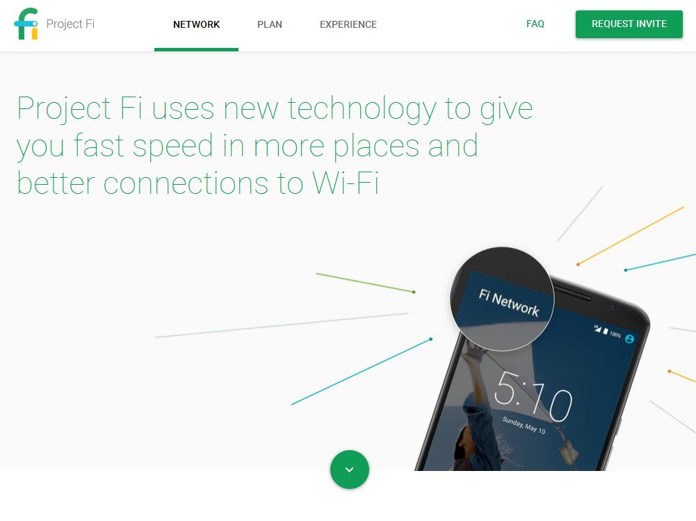 「Project Fi」のウェブサイト