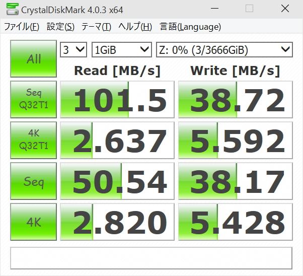 TS-212Pの結果(左)と比較用のSynology DS1512+(Atom搭載の高性能5ベイNAS)の結果(右)