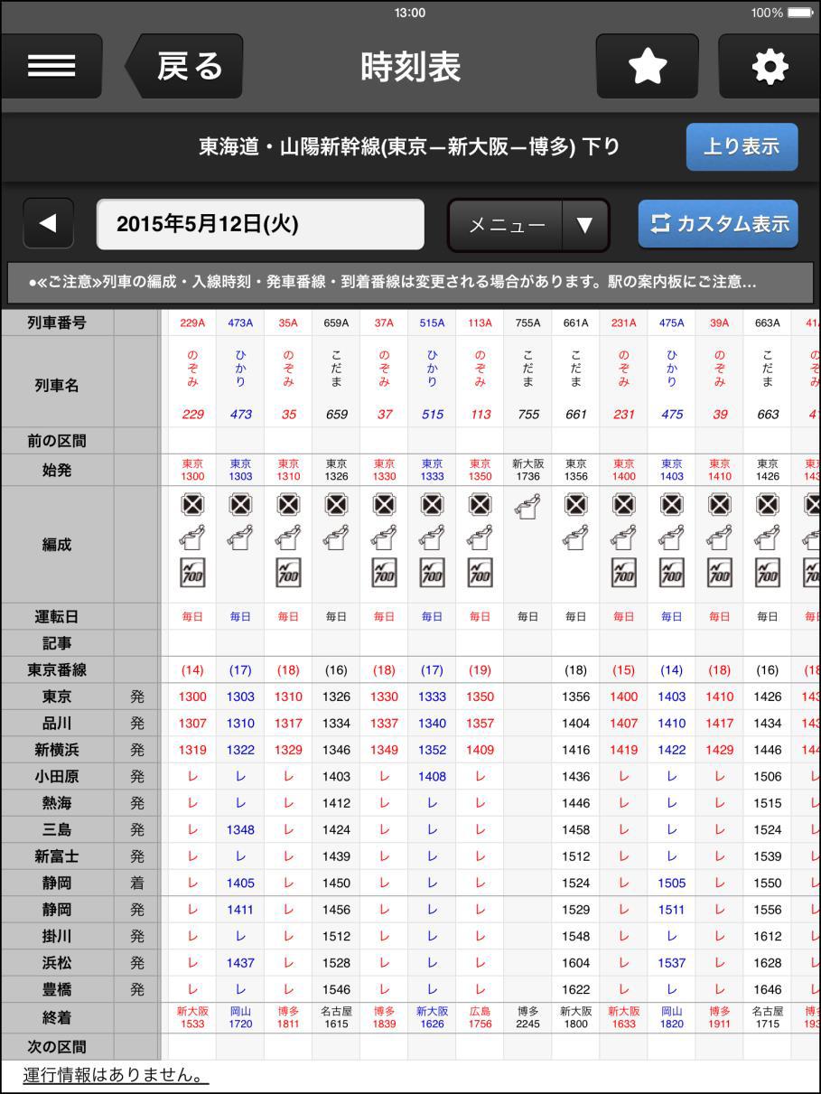 東海道新幹線の時刻表の通常表示。「のぞみ」「ひかり」「こだま」が載っている