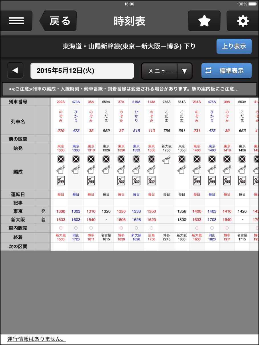 カスタマイズ機能で「東京駅発車時刻」と「新大阪駅到着時刻」だけを表示した状態