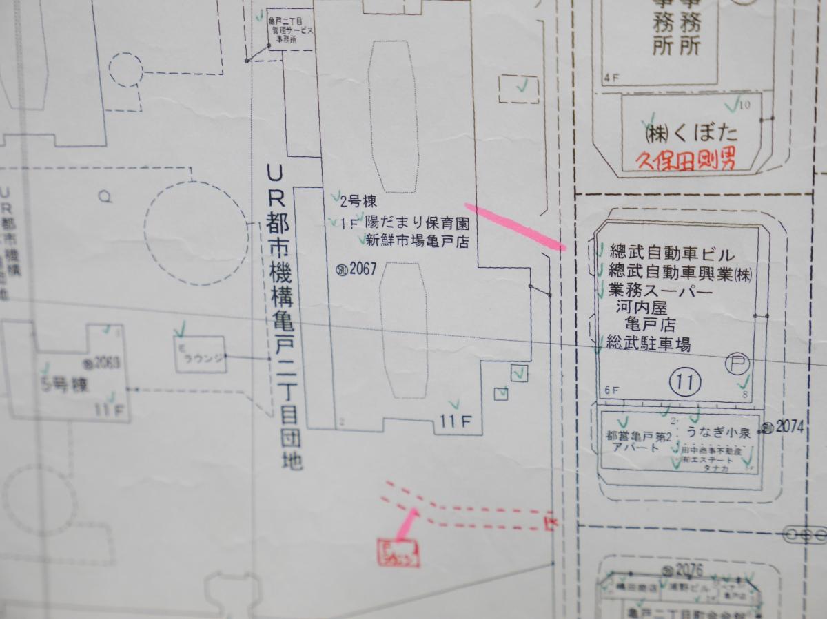 ピンク色の線が建物の出入口情報を示している
