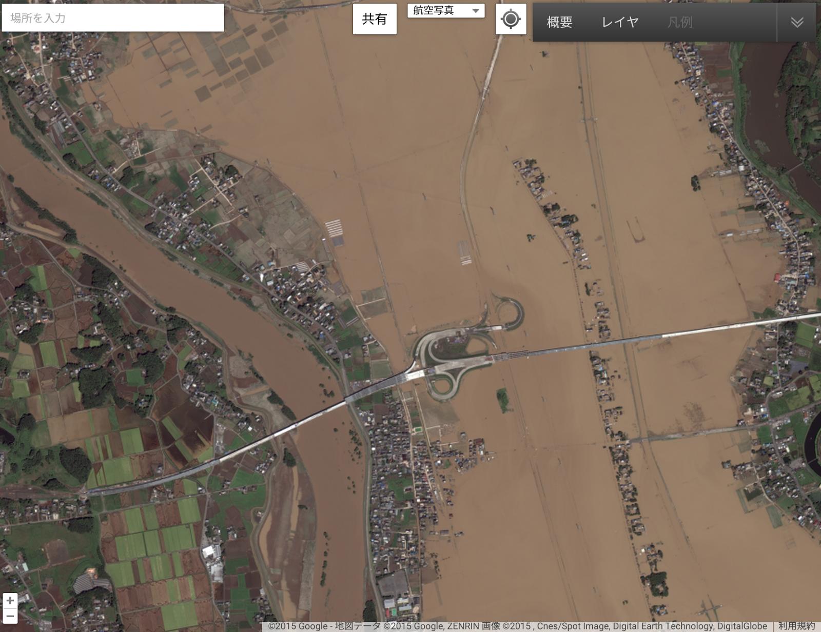 茨城県常総市周辺 水害後(グーグル公式ブログより画像転載) (c)Google, DigitalGlobe