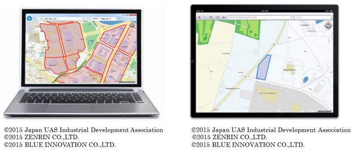 「ドローン規制法案」による飛行禁止エリア情報(左)、飛行可能施設情報(右)のイメージ