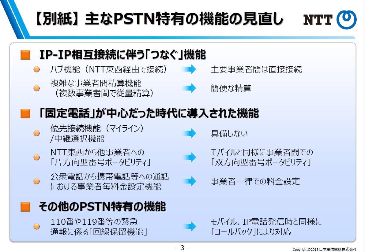 主なPSTN特有の機能の見直し