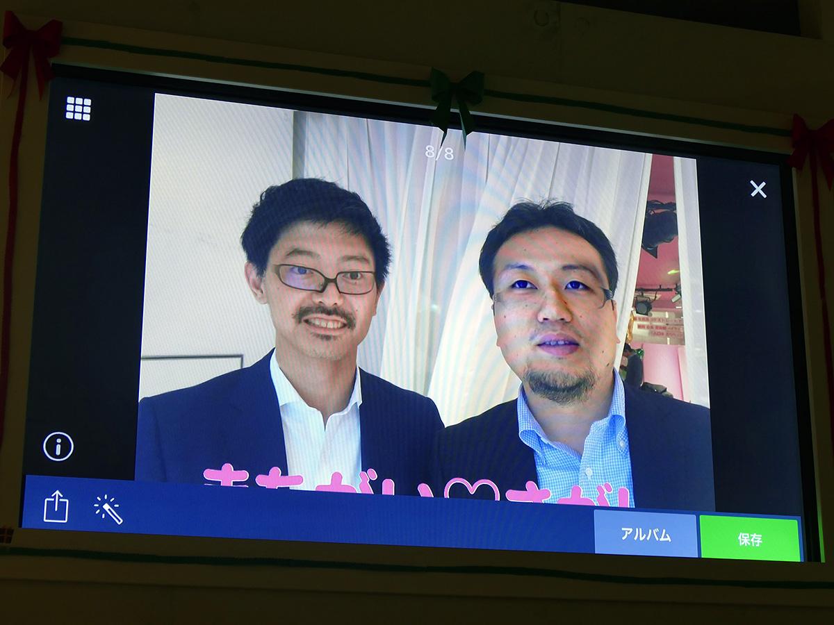 写真に写った2人の人物の顔を入れ替える「顔スワップ」。写真をりんなに送るだけで、すぐに加工して投稿してくる
