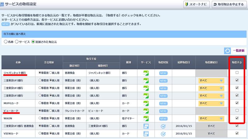 ジャパンネット銀行とビューカードはチェック外し、残りを取得する