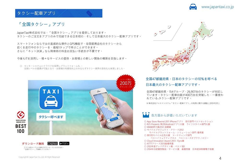 タクシー配車アプリ「全国タクシー」。現時点では、全国47都道府県、約3万台のタクシーに対応。300万ダウンロードを達成