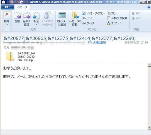 件名が文字化けしているメール