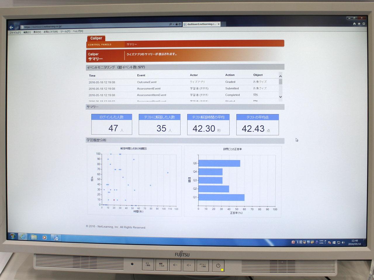 学習履歴の分析画面。テストの結果をサマリーで表示できるだけでなく、さまざまな学習データを収集、分析できる